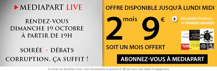 Offre live : 9€ les 2 mois d'abonnement à Mediapart soit 1 mois offert, disponible jusqu'à midi